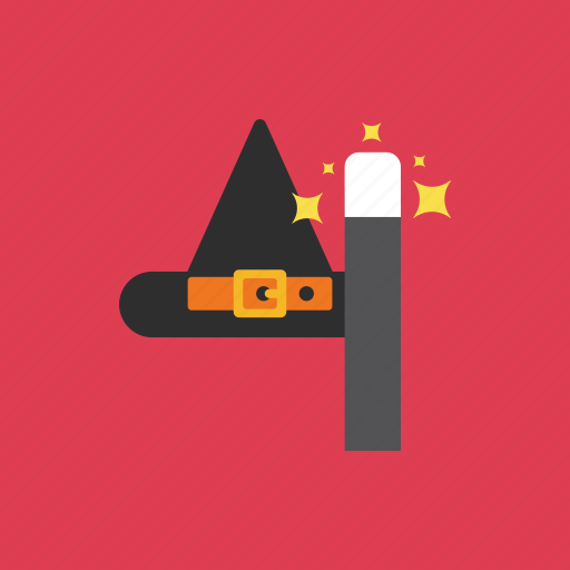 halloween, hat, magic, spooky, wand icon