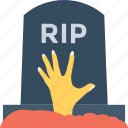 gravestone, hand, headstone, horror, tombstone icon