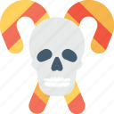 candy cane, head, horror, skull, sweet icon