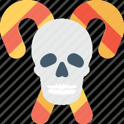 candy cane, head, horror, skull, sweet icon