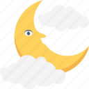 clouds, moon, night, nightfall, weather icon