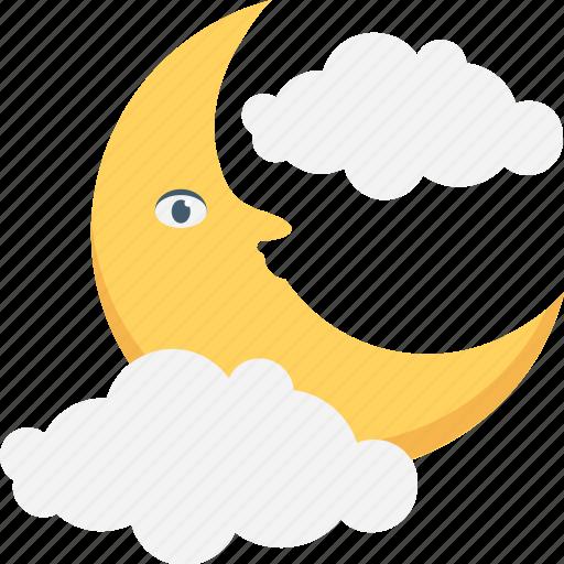 clouds, moon, night, nightfall, weather icon