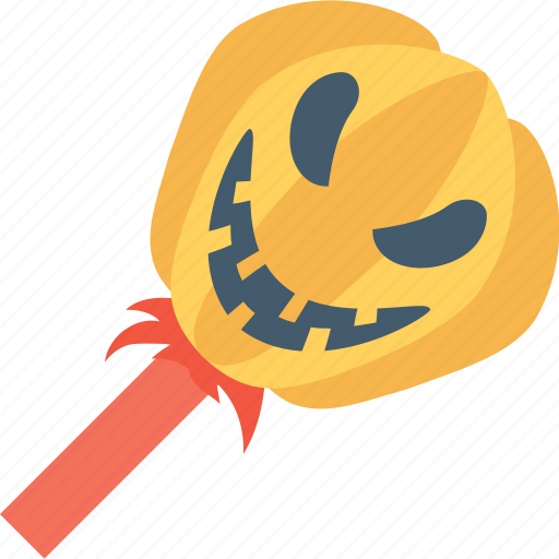 candy, confectionery, lollipop, pumpkin, pumpkin lolly icon