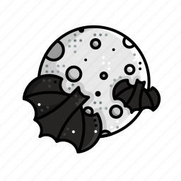 bat, halloween, moon, night, scary icon