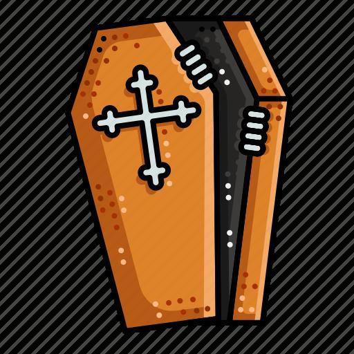 coffin, cross, death, halloween, hand, mummy icon