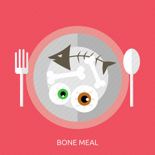 bone, bone meal, halloween, meal, plate, spooon icon
