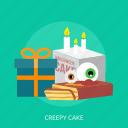 box, cake, candle, creepy, creepy cake, halloween icon