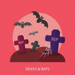 bats, death, grave, halloween, horror, rip, spider icon