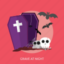 bats, coffin, grave, halloween, night, skull icon