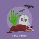 bats, grave, halloween, hand, night, rip, spider icon