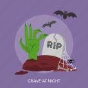bats, grave, halloween, hand, night, rip, spider icon