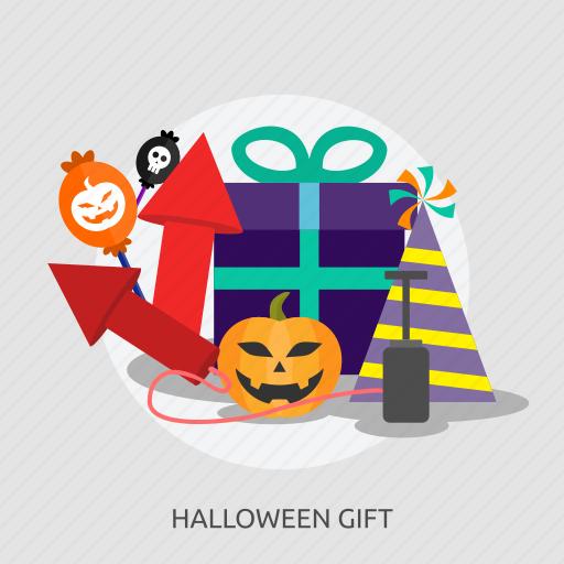 box, candies, fireworks, gift, halloween, hat, pupkin icon