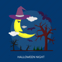 bats, dark, evil, halloween, moon, night, tree icon