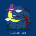 bats, dark, evil, halloween, moon, night, tree icon