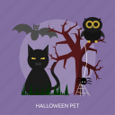 bat, cat, halloween, owl, pet, spider, tree icon
