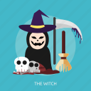 broom, creepy, halloween, horror, scary, skull, witch icon