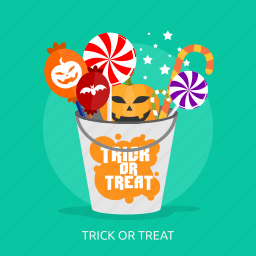 bucket, candies, halloween, horror, part, treat, trick or treat icon
