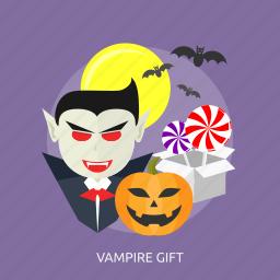 bats, gift, halloween, lollipop, moon, scary, vampire icon