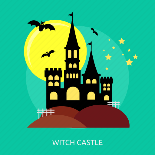 bats, castle, halloween, horror, moon, witch, witch castle icon