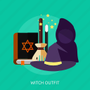 book, broom, evil, halloween, outfit, witch, witch outfit icon
