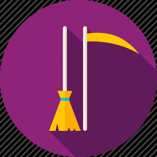 besom, broom, halloween, happy, riper, scythe, witch icon
