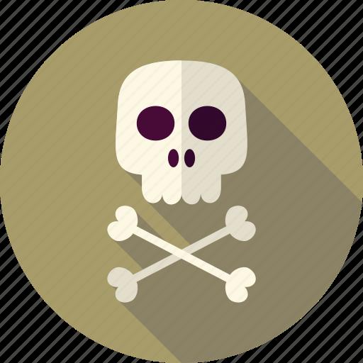 bone, crossbones, dead, death, halloween, head, skull icon