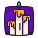 candle, fire, halloween, wax icon