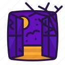 bat, branches, halloween, window icon