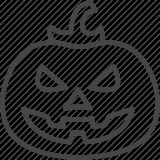 halloween, holidays, line, outline, pumpkin, vegetable icon