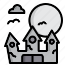 castle, halloween, party, witch icon