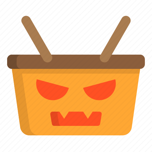 basket, halloween, party, witch icon