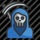 spooky, scythe, halloween, death, scary, reaper icon