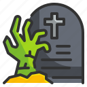 dead, graveyard, halloween, horror, living, scary, zombie icon