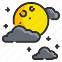 cloud, full, halloween, moon, night, weather icon