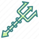 diving, equipment, halloween, harpoon, trident, weapons icon