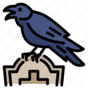 animal, bird, crow, grave, graveyard, halloween, night