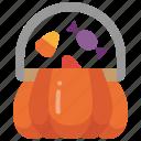 dessert, halloween, bucket, shopping, sweet, basket, candy