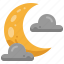 crescent, cloudy, cloud, night, lunar, moon, weather