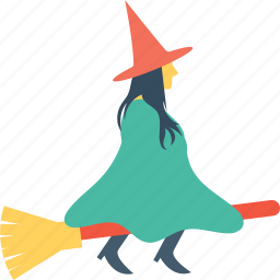 broom, halloween, magic, witch broom, witch riding icon