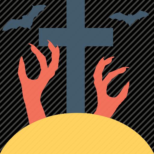 cross, grave, graveyard, horror, spooky icon