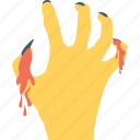 bloody hand, frightening, hand, spooky, zombie hand icon