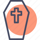casket, coffin, cross, death, funeral, halloween icon