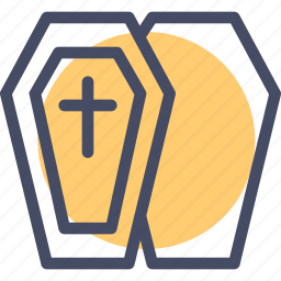 casket, coffin, cross, death, funeral, halloween, remains icon
