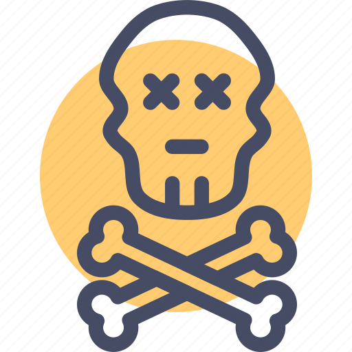 bones, caution, crossbones, danger, jolly roger, pirate, skull icon