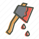 axe, blood, halloween, hatchet, horror, killer, violence icon