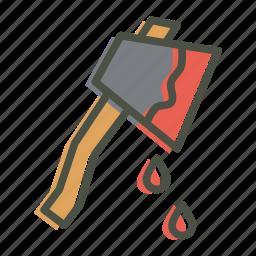 axe, blood, halloween, hatchet, horror, killer, violence icon