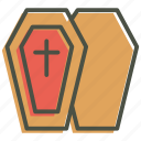 casket, coffin, cross, death, funeral, halloween, remains