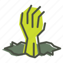 creepy, dead, evil, halloween, hand, zombie icon