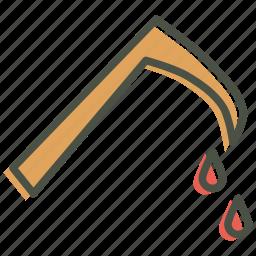 axe, blood, evil, halloween, horror, scythe, sickle icon