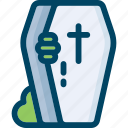 coffin, cross, death, halloween, hand, zombie icon